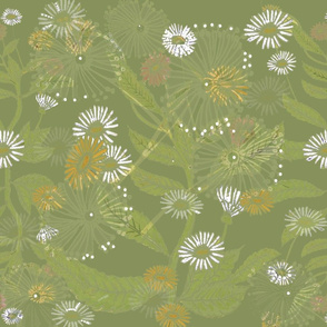 Vintage Daisy Dance - Olive Green - Large
