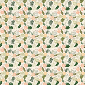 Yellow and Green Tropical Floral Pattern