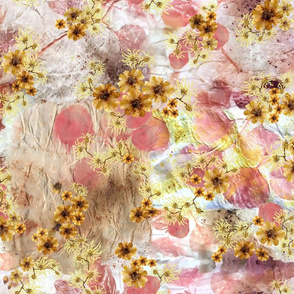 floral patchwork coreopsis witchhazel peach yellow pale orange cream tan eco print