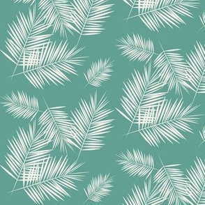 palm leaves - aqua green small scale