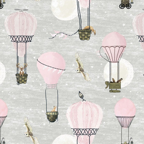 Pink hot air balloons, stars and moon medium scale with woodland animals on baby  light gray, wildlings, owl, deer, fox, nursery, baby girl, home decor