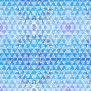 Abstract blue and lavender triangles glazed with white