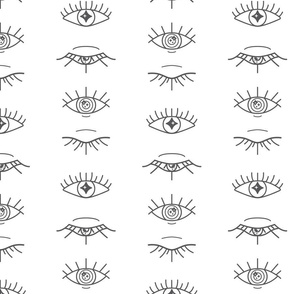 Magical Eyes Lineart in Graphite on White seamless pattern background.
