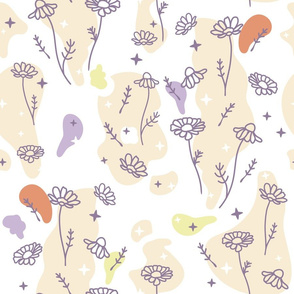 Camomile Flowers with Colorful Organic Abstract Shapes seamless pattern background.