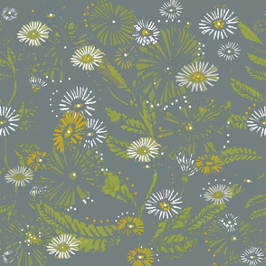 Vintage Daisy  Dance - Goldenrod & White Hand Drawn Daisies On Moody Grey,