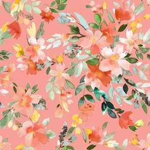 Summery Oleander floral Coral pink