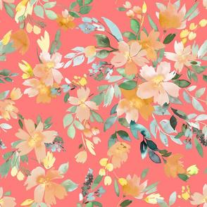 Summery Oleander floral Persimon