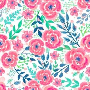 hand-drawn flowers - pink