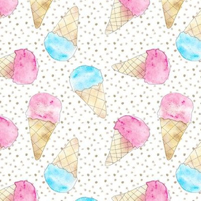Pastel ice cream babies - watercolor icecream cones