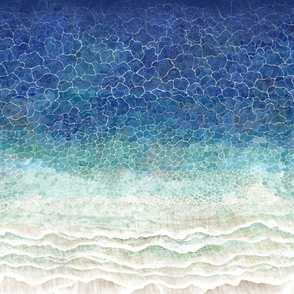 Beach from above, waves painted with watercolors