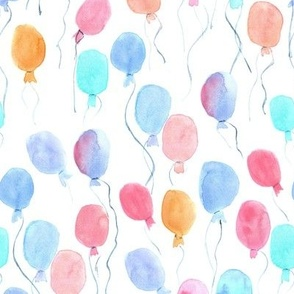 watercolor balloons - joyful painted air balloon design for nursery kids baby a129-1