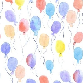 watercolor balloons - joyful painted air balloon design for nursery kids baby a129-2