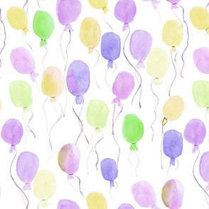Pastel watercolor balloons - joyful painted air balloon design for nursery kids baby a129-3
