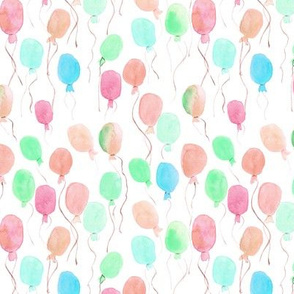 watercolor balloons - joyful painted air balloon design for nursery kids baby a129-4