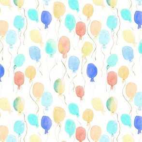 pastel watercolor balloons - joyful painted air balloon design for nursery kids baby a129-5