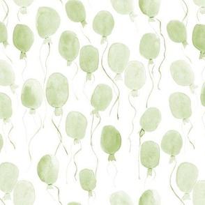 Celadon green watercolor balloons - joyful painted air balloon design for nursery kids baby a129-7