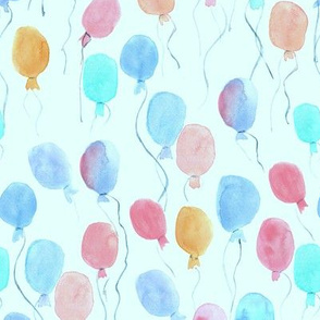 watercolor balloons on blue - joyful painted air balloon design for nursery kids baby a129