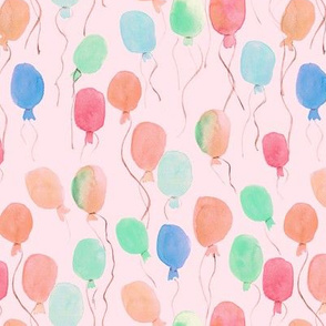 watercolor balloons on coral - joyful painted air balloon design for nursery kids baby a129-13