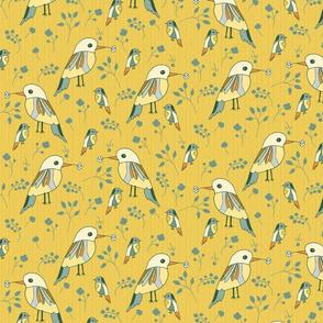 birds on brilliant amber yellow medium