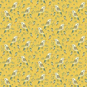 birds on brilliant amber yellow small