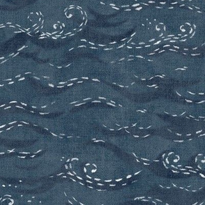 Sashiko Sea in Indigo Blue (large scale)   Japanese stitch patterns on a faded dark blue linen texture, ocean surf, waves pattern on vintage blue.