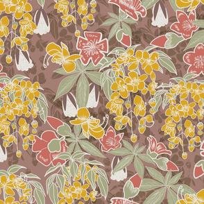 Vasanta- Indian Spring- Golden Shower Red Silk Cotton- Marsala- Large Scale