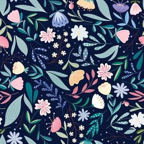 Flower Field // Balcony Wildflowers , Botanical, Folk Art // Light Blue Color by Angelica Venegas