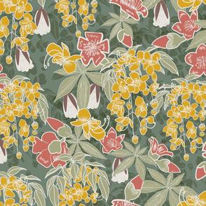 Vasanta- Indian Spring- Golden Shower Red Silk Cotton- Grayish Jade- Large Scale