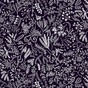 Botanical Doodles Bolder, Black and White