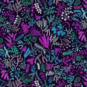 Botanical Doodles Bolder, purple, blue, green