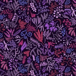 Botanical Doodles Bolder, purple, pink, magenta
