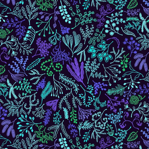 Botanical Doodles Bolder, Aqua and Violet