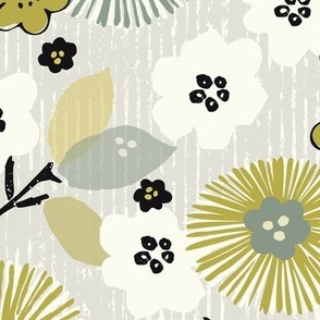 Cool Neutral Striped Floral