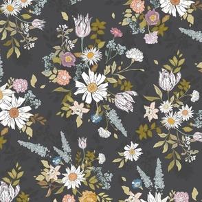 Eden Floral (charcoal) LRG
