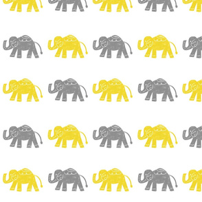 Elephants - Yellow/Gray Smaller
