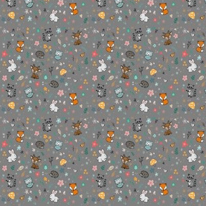 Woodland Friends on Gray (small)