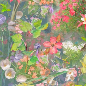 Meadow Flowers on Slate Background