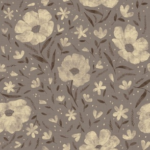 Large scale- Charlotte floral - warm grey