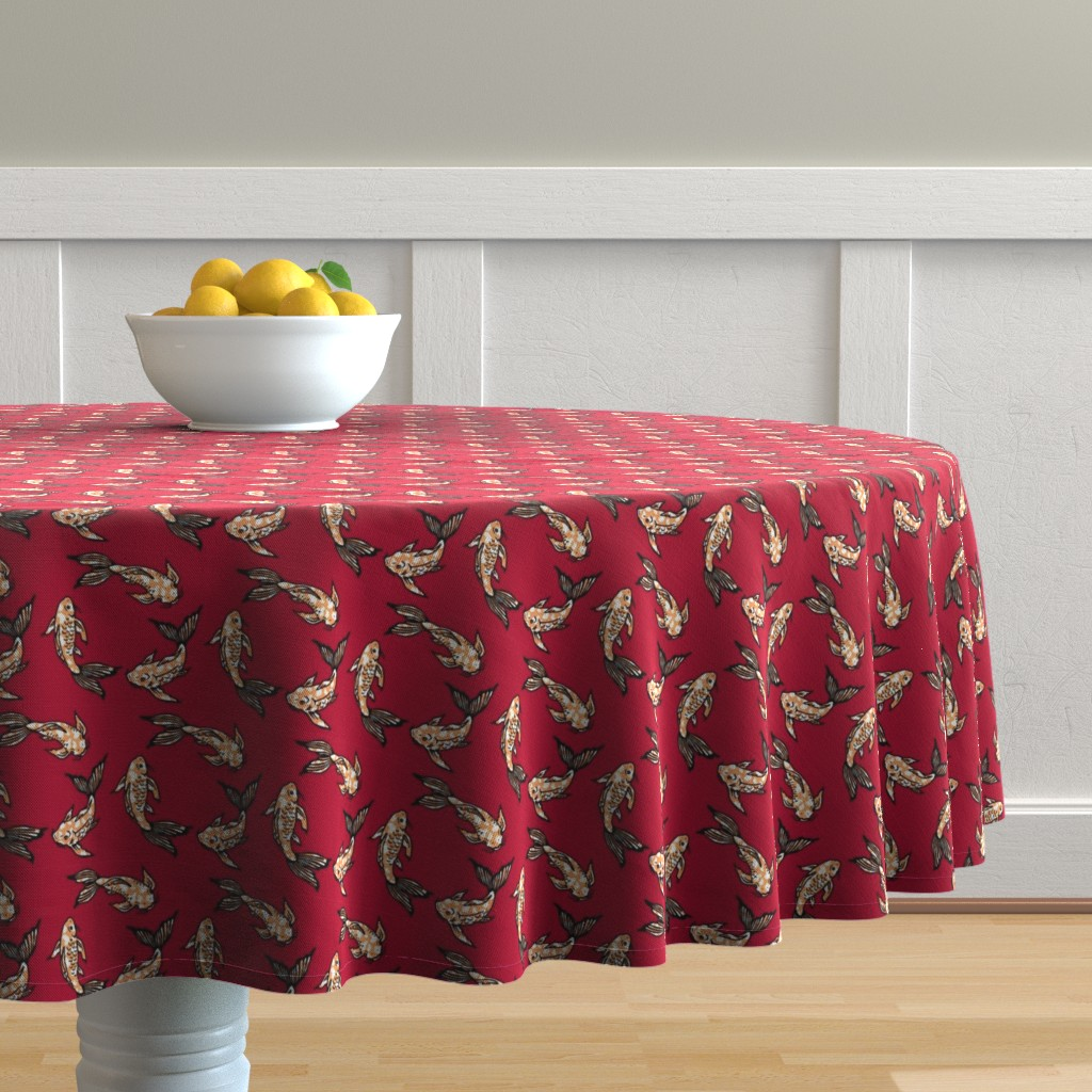 Malay Round Tablecloth featuring koi joy red by mytinystar