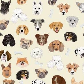 Dog Faces on cream (medium scale)
