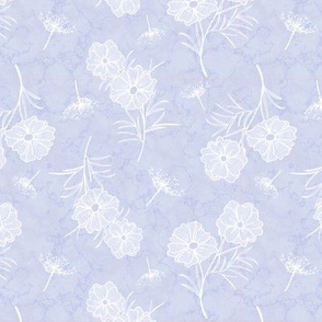 Cosmos and Queen Anns Lace on Pale Blue Marble