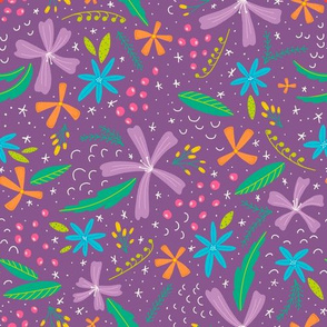 Morning Bright Floral Tossed | Purple