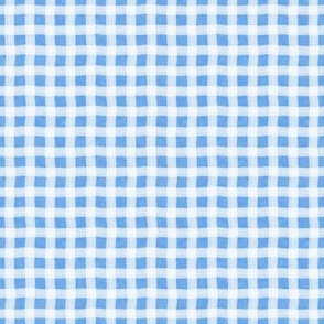 Cornflower Blue Marble Wonky Gingham