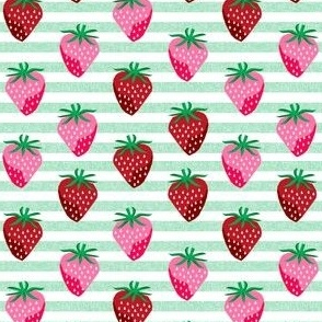 SMALL strawberry fruit summer food berry fabric stripes mint