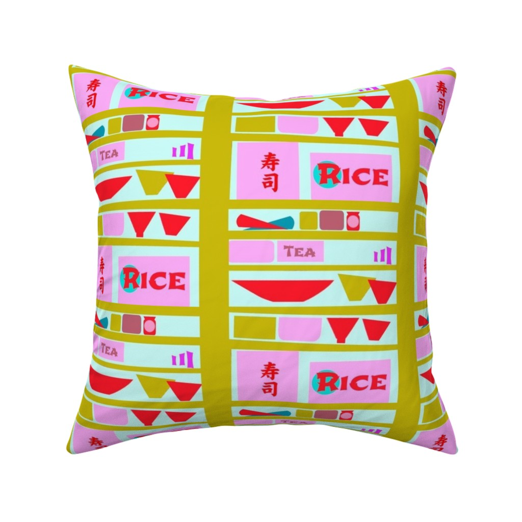 Catalan Throw Pillow featuring Sushi Bar Shelving by boris_thumbkin