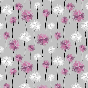 Wild Carnation endemic Romanian Flowers  pink gray Fabric