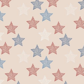 Little textured boho stars american treditional flag color 4th of july and memorial day theme on beige sand