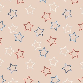 Little textured boho stars grunge outline american treditional flag color 4th of july and memorial day theme on beige sand gender neutral