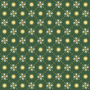 geometric stars foulard dark green small