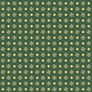 geometric stars foulard dark green tiny